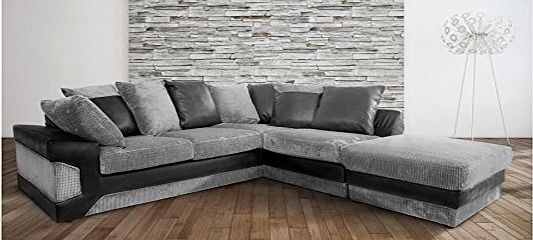 Abakus Direct Dino Corner Sofa In Black amp; Grey With a Large Footstool [Black Right]
